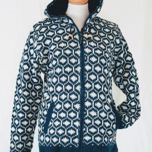 wollen vest schapenwol blauwwit Nepal