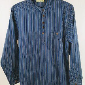 overhemd nepal blauw katoen